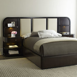 Horchow - Savion King Bed with Nightstand Piers - Linear in design, this elegant bedroom furniture projects energy and sophistication. It offers a fresh, new look to the bedroom while maintaining classic allure. Made of select hardwoods with graphite finish. Low-slung, curvilinear wall beds feature b...