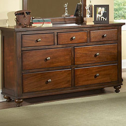 Homelegance - Homelegance Aris 56 Inch Dresser in Brown Cherry - Classic in design and bold in style  the youth version of our popular Aris Collection adds warmth and character to your child's bedroom. Bun feet serve to support the simple yet elegantly designed case pieces  while the warm brown cherry finish on select hardwoods and veneers completes the overall look. Student desk with hutch and coordinating chair are also available.