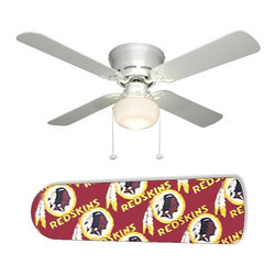 """Washington Redskins 42"""" Ceiling Fan and Lamp - 42-inch 4-blade ceiling fan with a dome lamp kit that comes with custom blades. It has a white flushmount fan base. It has an energy efficient 3-speed reversible airflow motor for year long comfort. It comes with complete installation/assembly instructions. The blades can be cleaned with a damp cloth. It is made with eco-friendly/non-toxic products. This is brand new and shipped in the original box. This is not a licensed product, but is made with fully licensed products. Note: Fan comes with custom blades only."""