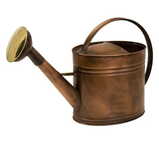 """IMAX - Tauba Large Oval Copper Finish Watering Can - Antique look, water tight, copper pitcher features ribbed detail and handle that stretches from front to back Item Dimensions: (16""""h x 8.25""""w x 25"""")"""