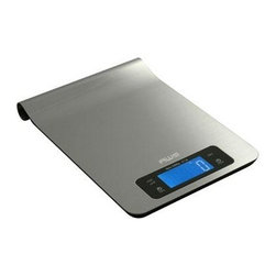"American Weigh Scales - Digital Kitchen Scale SS - Stainless steel digital kitchen scale  hangs for storage  smudge resistant surface  blue backlight LCD display (0.9"" x 2.2"")  platform size 9"" x 5.9""   timer/alarm function  displays g  oz  lb  ml and fl oz  11lb capacity/ .1 oz graduation  3-AAA batteries included  stainless steel finish  This item cannot be shipped to APO/FPO addresses. Please accept our apologies."