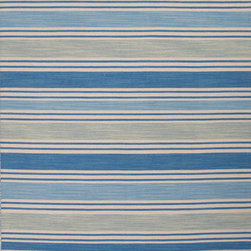 Jaipur Rugs - Flat-Weave Stripe Pattern Wool Blue/Ivory Area Rug ( 4x6 ) - Bold color is the name of the game with Pura Vida. This beautiful collection of durable, reversible flat-woven dhurries combines the classic simplicity of linear patterns with a decidedly modern palette for a look that's at once casual and sophisticated.