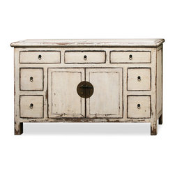 """China Furniture and Arts - Elmwood Ming Style Cabinet - With striking symmetry and bold white color, this piece instantly becomes an accent piece in any contemporary setting. Combining traditional Ming style simplicity with distressed white finish, this cabinet is perfect to be used as a sideboard in the dining room. A spacious double door interior  compartment measures 31.5""""W x 13.5""""D x 22.5""""H,  and is surrounded by a total of 7 drawers for storage convenience. Features hand-forged antiqued brass hardware and is entirely hand crafted of Elmwood. A perfect piece for displaying treasured collectibles or as a media cabinet in the living room. The interior of the 4 side drawers measures 15""""W x 8""""D x 7.5""""H. Top drawer interior measures 14.5""""W x 15""""D x 3.5""""H. Comes fully assembled."""