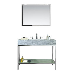 "Ariel - Brightwater 48"" Single-Sink Bathroom Vanity Set - Inspired by Mid-Century architecture and modern flair, this Brightwater vanity set features an open-back industrial design with a polished stainless steel base and versatile white carrera marble countertop with built-in sink.  Storage is provided through a frosted tempered glass shelf on the lower base."