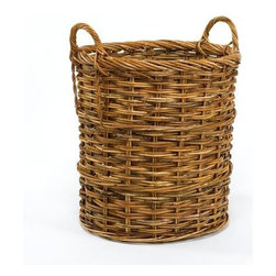 """Origin Crafts - Cottage rattan cord basket - Cottage Rattan Cord Basket Handsome basket for firewood or a large palm in your home or office. Dimensions (in):21.5"""" dia x 21.5""""H + 3.5"""" handles By Mainly Baskets - Mainly Baskets is a wholesale importer of basket accessories. The line consists of hand woven, high quality, traditional styled"""