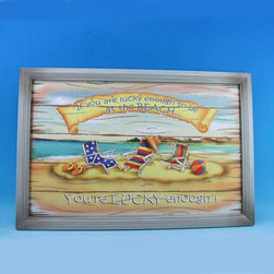 "Handcrafted Model Ships - Wooden You're Lucky Enough Wall Plaque 24"" Beach Bedroom Designs - New - Immerse yourself in the warm ambiance of the beach, imagining golden sands between your toes as you listen to the gentle sound of the surf, while you enjoy Handcrafted Nautical Decor's fabulous Beach Signs. Perfect for welcoming friends and family, or to advertise a festive party at your beach house, bar, or restaurant, this Wooden You're Lucky Enough Wall Plaque 24"" sign will brighten your life. Place this beach sign up wherever you may choose, and enjoy its wonderful style and the delightful beach atmosphere it brings."