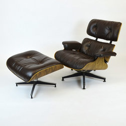 Eames Rosewood Lounge Chair and Ottoman by Herman Miller w/Espresso Leather - Dimensions:L 33''  × W 31''  × H 32''