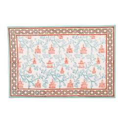 Origin Crafts - Pagoda teal/pumpkin placemats (set of 4) - Pagoda Teal/Pumpkin Placemats (Set of 4) Our East Asia inspired Pagoda pattern is a perfect fall tabletop addition. Block printed in cool shades of teal and pumpkin, they're sure to be a nice addition to any dinner party. 100% cotton canvas. Machine wash cold, tumble dry low, warm iron as needed.