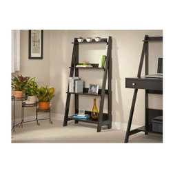 Bush My Space Alamosa Collection Classic Black Ladder Bookcase - The Bush My Space Alamosa Collection Classic Black Ladder Bookcase features a slim, modern design that provides the perfect complement to your contemporary decor. Sleek and elegant, the Alamosa bookcase is crafted of wood veneers with a no-scratch surface and classic black finish.Its four graduated shelves offer versatile storage and its small footprint and minimal frame maximizes your storage options in tight spaces and cozy corners.Some assembly is required. Made in China.About Bush FurnitureBush Furniture is the eighth largest furniture company in the United States. Bush manufactures high-quality products, which are designed to be easily assembled and provide great value for the price. Bush furniture is made from a combination of particleboard, fiberboard, and solid wood components. The use of real wood components will be noted in the product description, if applicable.Bush Industries has over 4,000,000 total square feet of manufacturing, warehousing, and distribution space. This allows for a very wide selection of high-quality furniture with the ability to ship quickly. All standard residential Bush products carry a generous 6-year warranty. All Bush business furniture, including the A series, C series, and Quantum series, is backed by a 10-year warranty from Bush, one of the best in the industry.Please note this product does not ship to Pennsylvania.