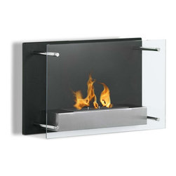 "Ignis Products - Senti Modern Wall Mounted Ventless Ethanol Fireplace - Enjoy the beauty and warmth of an open flame without the mess, the fuss, or the smoke, with this Senti Wall Mounted Ventless Ethanol Fireplace. This clean-burning wall mount fireplace unit installs on any wall in your home, so it makes the most effective use of your space in small homes or apartments, and it is designed to efficiently heat an average-sized room while creating an atmosphere that can only be obtained with an open-flame design. It has a glass cover that protects curious fingers from the 1.5-liter burner, and it puts out 6,000 BTUs of warm, comforting heat. This unit comes with an ethanol burner insert and a damper tool for your convenience. Dimensions: 23.6"" x 15.75"" x 9.25"". Features: Ventless - no chimney, no gas or electric lines required. Easy or no maintenance required. Easy Installation - Mounts directly on the wall (mounting brackets included). Capacity: 1.5 Liter. Approximate burn time - 5 hours per refill. Approximate BTU output - 6000."