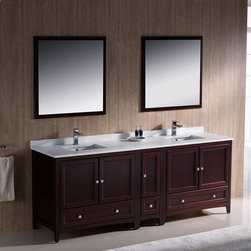 """Fresca - Fresca Oxford 84 Mahogany Traditional Double Bathroom Vanity & Cabinet - Featuring a beautiful Mahogany finish and an elegant design, the Oxford 84"""" vanity from Fresca is sure to provide any bathroom with a stunning focal point. Incorporating plenty of storage space for toiletries and bathroom linen, this durable vanity with side cabinet and solid wood frame comes complete with the ceramic undermount sinks and quartz stone counter top. Oxford Bathroom Vanity Details:   Dimensions: 84W x 20 3/8D x 32 5/8H Solid wood frame Quartz stone counter top Ceramic undermount sinks Dove tail drawers Finish: Mahogany Please note: faucet not included"""