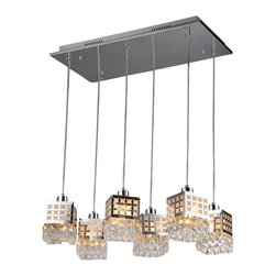 Warehouse of Tiffany - Dice 6-light Crystal Chrome Chandelier - Add a classy touch to your home with this dice crystal chandelier. This dynamic light fixture features six chrome finish shades for an additional elegance to your home decor. Setting: IndoorsFixture finish: ChromeMaterials: CrystalNumber of lights: Six (6)Requires: Six (6) 60 watt bulbs (not included)Shade dimensions: 25 inches high x 25 inches wide x 7 inches longThis fixture does need to be hard wired. Professional installation is recommended. Note: This disclaimer does not apply to floor and table lampsCSA Listed, ETL Listed, UL Listed