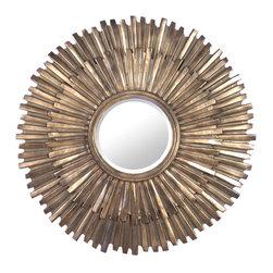 Zentique - Stella Mirror - The Stella Mirror features a rustic copper sunburst frame with a beveled mirror.