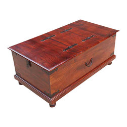 Sierra Living Concepts - Lincoln Study Solid Wood Double Lid Storage Box Trunk Coffee Table - Now you can utilize space in your home with sophistication and style with the Lincoln Study Solid Wood Double Lid Storage Box Trunk Coffee Table. This elegant solid Indian Rosewood chest offers lots of storage space with easy access. The classic truck has a double swing up lid and features traditional hardware. The trunk coffee table stands on short round lets and is hand stained inside and out.