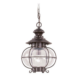 Livex Lighting - Livex Lighting 2225 1 Light 100W Outdoor Pendant with Medium Bulb Base and Hand - 1 Light 100W Outdoor Pendant with Medium Bulb Base and Hand Blown Clear Glass from Harbor SeriesProduct Features: