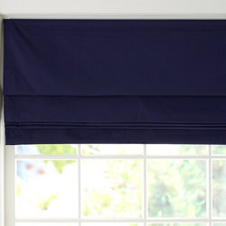 Twill Cordless Roman Shade With Blackout Lining, Navy - Currently, my son has red curtains in his bedroom. When I change his bedroom decor, I am thinking about getting a room-darkening Roman shade instead of curtains. I think the look is more masculine, while also being easy to operate.