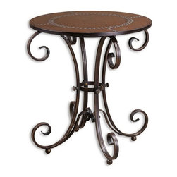 Uttermost - Uttermost 26111  Lyra Round Accent Table - Features decorative, hand forged metal base in an ancient bronze finish with studded, faux leather top.