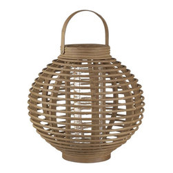 Reed Small Hurricane - At first glance it would see that placing a flame in this reed hurricane lantern was a bad idea. The glass insert makes it possible.It's great looking and can double as an outdoor vase to server as a different centerpiece for outdoor meals.