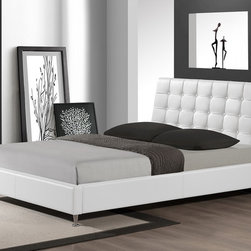 Baxton Studio - Baxton Studio Zeller White Modern Bed with Upholstered Headboard - Queen Size - Restful sleep and style packed into one sleek package: our Zeller Designer Bed brings the best of both worlds. Attractive soft matte white faux leather upholsters this queen-sized platform bed, which includes wooden slats, thereby eliminating the need for a box spring. Malaysian-made with an engineered wood frame, the Zeller Contemporary Bed also features foam padding, a button-tufted headboard, and chrome-plated steel legs at the end of the bed. Maintenance is effortless: just wipe the bed's surfaces with a damp cloth before wiping dry. The Zeller Bed is also available in gray and black (each sold separately). Assembly is required. 38.66 inches high x 65.75 inches wide x 83 inches long