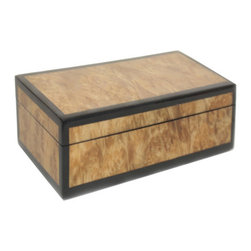 Lacquered Burlwood Medium Box - Wouldn't this box look so handsome on a gentleman's dresser? It's a great place to keep a watch, keys, loose change, etc. I'm a sucker for anything burlwood, and the black edging just puts this box over the top in my book.
