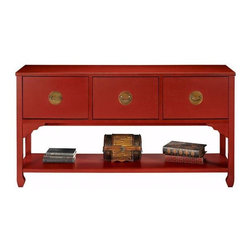 Wuchow Three-Drawer File Console - I have this file case in my living room, acting as a media center. While it's definitely a bit of a beast to put together, once it's complete it feels sturdy and looks great.