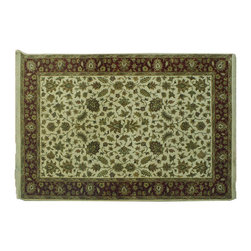 Area Rug, 6X9 Rajasthan 100% Wool Thick & Plush Hand Knotted Oriental Rug SH7279 - Agra & Rajasthan Hand Knotted Rugs have Persian inspired floral motifs.  They are hand knotted from India and usually consists of 100% Wool.  The colors usually consists of Blacks, Deep Reds, Browns, & Greens.