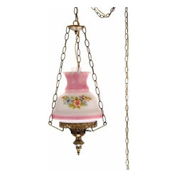 27-Inch Pink and Blue Floral Swag Lamp with Pink Tint Glass