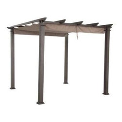 Hampton Bay Steel Pergola with Canopy - This steel pergola will be a welcome shelter from the sweltering sun during the hot summer days ahead. It even has a canopy!