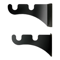 Village Wrought Iron - Double Rod Curtain Rod End Brackets - 1/2 inch diameter rod end brackets for 2 rod mounting. 3 3/8 In. Depth (set of 2 brackets required for each 2 curtain rod set). Decorative, functional and long lasting handcrafted products for your home carefully made using the finest materials and time-tested methods of craftsmanship. Quality and durable coated products have a baked on powder coating to ensure that you may enjoy each piece for many years. Toilet Tissue Holder Measurements Are Approximate. Proudly crafted in the USA. Material is Handcrafted Iron. Finish is a Flat Black Powder Coated Iron for that long lasting appeal.