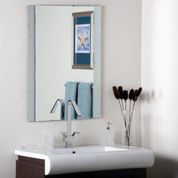 Decor Wonderland - Starlight Frameless Wall Mirror - 23.6W x 31.5H in. Multicolor - SSM5039-111 - Shop for Bathroom Mirrors from Hayneedle.com! If you're looking for a contemporary mirror that's simple yet strikingly stylish you'll surely love the Starlit Frameless Wall Mirror. The metal-encased-in-glass border with starburst motifs adds a unique look to the mirror while the beveled inside edges add to its depth and definition. The perfect addition to any room or entryway this frameless mirror will complement any color scheme. Made of one solid piece of etched glass this mirror features a strong .19-inch-thick glass and double coated silver backing with seamed edges for lasting use. The ready-to-hang mirror comes complete with mounting hardware. Wipe clean with a damp cloth. Use only water or window cleaner when cleaning this mirror.About Decor Wonderland of USDecor Wonderland US sells a variety of living room and bedroom furniture mirrors lamps home office necessities and decorative accessories. Decor Wonderland strives to add variety to their selection so that every home is beautifully and perfectly decorated to suit their customer's unique tastes.