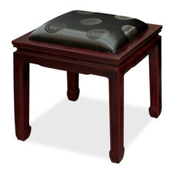China Furniture and Arts - Rosewood Horse Shoe Bench W/Silk Cushion - A handsome solid rosewood Ming Dynasty bench upholstered with Chinese black longevity motif silk fabric. Built by master craftsmen with traditional joinery techniques. A hand applied classic cherry finish enhances the extraordinary beauty and opulence of solid rosewood. (Assembled.)