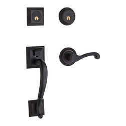 Baldwin Hardware - Estate Madison DC Left-Handed Handleset with Wave Lever in Venetian Bronze - The Baldwin Estate Collection Madison Double Cylinder Venetian Bronze Left-Handed Handleset with Wave Lever makes it easy to add a stylish look to your exterior door.