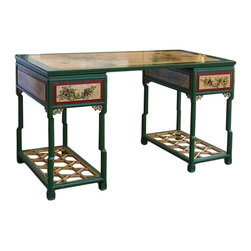 Golden Lotus - Chinese Oriental Yellow Green Flower Graphic Desk - This is 3 pieces set desk / writting table in cream yellow and green base color. Oriental flower graphic is painted on the table top, body and drawers as an accent. ( Table top and two bases )