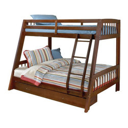 Hillsdale Furniture - Hillsdale Rockdale Bunk Bed - Cherry - Hillsdale's Rockdale bunk bed is a great addition to any child's room. A twin upper bunk and full size lower bunk offers lots of room for sweet dreams. Sturdy solid wood construction is complimented by your choice of finishes, cherry or espresso. The final fabulous feature, an under-bed storage drawer, perfect for stowing away, toys, clothes, linens and so much more! whether you choose it for your home, grandma's house or a vacation home, the Rockdale bunk bed is the right choice.