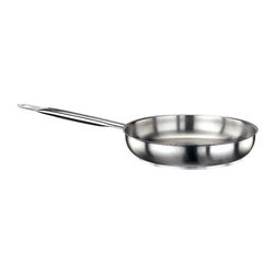 Paderno World Cuisine - Stainless Steel 7 in. Frying Pan - The 7 1/8 in. diameterstainless steel frying pan with its welded, stainless steel handle, is used most commonly for searing and flambeing any dish. It is induction compatible.