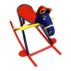 Hoohobbers Rocking Horse - Primary - Your little cowgirl or cowboy will be riding off into the sunset on the Hoohobbers Rocking Horse - Primary. This water-safe rocking horse can be used indoors while watching a favorite Western or outdoors on the range; it folds up into a compact package so it is easy to move and store. Lightweight yet incredibly sturdy this rocking horse boasts a solid polypropylene frame and adult-strength canvas seat. The horse's head is all foam so there are no hidden supports that a child could accidentally hit. The trapezoidal design is incredibly stable; the horse is 12 inches wide at the bottom by 6 inches at the seat to help your child keep his balance. Foot rests provide extra comfort and stability. Cheerful in bright primary colors this innovative rocking horse is the only one to win the juvenile industry's Best Design Award.About HoohobbersBased in Chicago Hoohobbers has designed and manufactured its own line of products since 1981 beginning with the now-classic junior director's chair. Hoohobbers makes both hard goods (furniture) and soft goods. Hoohobbers' hard goods are not your typical furniture products; they fold are lightweight and portable and are made to be carried by children all around the house. Even outdoors Hoohobbers' hard goods are 100 percent water-safe. At the same time they are plenty durable and can take the abuse children often give. Hoohobbers' soft goods are fabric items ranging from bibs to bedding from art smocks to Moses baskets.Hoohobbers' products are recognized by independent third parties for their quality and performance. Hoohobbers has received Best Design Awards from America's Juvenile Products Association each time selected from more than 20 000 products. Hoohobbers has also received the Parents' Choice Award and no Hoohobbers product has ever been subject to consumer recall. Furthermore the company's products are often featured in leading women's and children's publications.