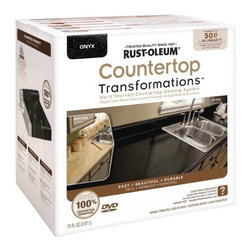 Rustoleum Brands - 258284 Onyx Countertop Kit - COUNTERTOP TRANSFORMATIONS(R) KIT  Simple, affordable & hassle-free way to -  transform worn or damaged countertop into-  beautiful, durable new counter surfaces  Coating system gives permanent look of -  natural stone products  Just sand, roll, spread, smooth, seal & enjoy  Complete kit of all items needed to transform -  countertops along w/DVD instructions & pamphlet    258284 ONYX COUNTERTOP KIT  COVERAGE:50 Sq. Ft.  Color: Onyx