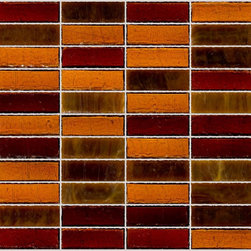 """Susan Jablon Mosaics - Amber Chocolate And Caramel Glass Tile - This hand made glass tile blend is a mix of 1"""" x 3"""" caramel and brown tones in a stacked joint.It is a perfect selection to your light or brown toned counter top selection.This blend features 1x3"""" tiles with rich amber , chocolates and deep caramels.It is very easy to install as it comes by the square foot on mesh and it is very easy to clean! About a decade ago, Susan Jablon re-ignited her life-long passion for mosaics and has built a customer-focused, artist-driven, business offering you the very best in glass and decorative tiles and mosaics. We are a glass tile store committed to excellence both personally and professionally. With lines of 100% SCS Qualified recycled tile, 12 colors and 6 shapes of mirror, semi precious turquoise stones from Arizona mines, to color changing dichroic glass. Stainless steel tiles in 8mm and 4mm and 12 designs within each, and anything you can dream of."""