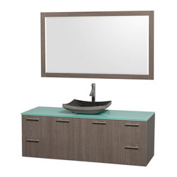 Wyndham Collection - Contemporary Single Sink Vanity Set - Includes sink, green glass top, mirror, drain assemblies and P-traps for easy assembly. Faucet not included. Square black granite sink. Two functional doors. Concealed soft close door hinges. Modern brushed chrome door pulls. Unique and striking contemporary design. Four functional drawers. Fully-extending soft-close drawer slides. Deep doweled drawers. Single-hole faucet mount. Plenty of storage space. Eight-stage preparation, veneering and finishing process. Highly water-resistant low V.O.C. sealed finish. Metal exterior hardware with brushed chrome finish. Wall-mount design. Mirror glass thickness: 0.75 in.. Warranty: Two years limited. Made from beautiful veneers over highest quality grade E1 MDF. Gray oak finish. Door: 17.25 in. W x 20.5 in. H. Drawer: 12.63 in. W x 10.13 in. H. Mirror: 58 in. W x 33 in. H (40 lbs.). Vanity: 60 in. W x 22.25 in. D x 21.25 in. H (124 lbs.). Handling Instructions. Installation Instructions - Mirror. Installation Instructions - VanityModern clean lines and a truly elegant design aesthetic meet affordability in the Wyndham Collection Amare Vanity. Each vanity provides a full complement of storage areas behind sturdy soft-close doors and drawers. A wall-mounted vanity leaves space in your bathroom for you to relax. The simple clean lines of the Amare wall-mounted vanity family are no-fuss and all style.
