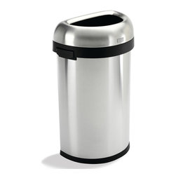 simplehuman - simplehuman Semi-Round Brushed Stainless Steel Open Trash Can (16 Gallons) - This durable and space-saving design of this stainless-steel open trash can makes it an ideal choice for busy environments. The semi-round shape of this versatile trash can is perfect for hugging walls to provide a more efficient use of space.