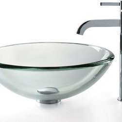 Kraus - Clear 19mm thick Glass Vessel Sink and Ramus Faucet (Satin Nickel) - Finish: Satin Nickel