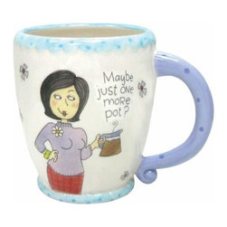 """WL - 4.25 Inch """"One More Pot"""" Coffee Mug with Cartoon Lady and Flowers - This gorgeous 4.25 Inch """"One More Pot"""" Coffee Mug with Cartoon Lady and Flowers has the finest details and highest quality you will find anywhere! 4.25 Inch """"One More Pot"""" Coffee Mug with Cartoon Lady and Flowers is truly remarkable."""
