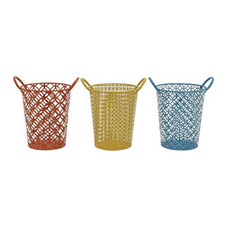 """Benzara - The Fun Metal Basket 3 Assorted - Are you looking for colorful baskets that are strong and durable? Sick and tired of cheap baskets made of plastic that instead of adding to your home make it uglier. Well, these metal baskets in 3 assorted colors might just take your fancy. Perfect for many things from storing things in the kitchen to being a trash bin: the uses of these baskets are multifarious. Plus the three colors give you the option of mixing and matching them with your rooms.Additionally, they have been made using quality materials; this ensures that they will last with you or years to come. Their cure looks will impress one and all. Perfect also for the children's bedroom; they can also make a great gift. They will indeed introduce a fun element in your home. They, indeed, are a must have. Metal basket 3 assorted dimensions: 12 inches (W) x 10 inches (D) x 13 inches (H); Metal basket color: Red, yellow, blue; Made from: Metal; Dimensions: 13""""L x 5""""W x 17""""H"""