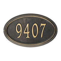 Concord Oval Address Plaque - Simplicity and class make this oval address plaque a must-have for the understated home. Substantial and sturdy, it has an oval border and plenty of room for up to five easy-to-read numbers. Constructed from weather resistant materials, the plaque is a small touch that will add lots of curb appeal.