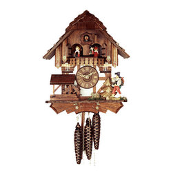 ROMBACH UND HASS - Cuckoo Clock One Day Musical Movement Rombach Und Hass Happy Wanderer - Chalet-style Musical Cuckoo Clock