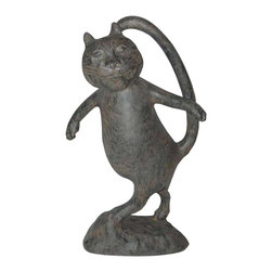 """Ladybug - """"Oscar"""" the Cat Statue in Moss Finish - Weather resistant finish. 1-Year warranty. Made in USA. Made of pecan shell resin. 11 in. W x 5.25 in. D x 22 in. H (10 lbs.)The finishes are applied by hand, enhancing every detail, and resulting in the uniqueness of no two pieces being exactly alike. Each individually hand-crafted piece of Ladybug product is cast in a crushed marble or resin composition which has the ability to capture and reproduce the same definition and minute detail as the original. It is a substantial, non-porous material which does not absorb moisture, making it ideal for outdoor use, although it offers the strength and durability required to endure even extreme weather conditions."""