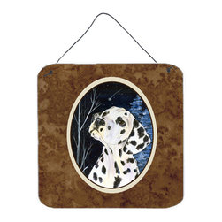 Caroline's Treasures - Starry Night Dalmatian Aluminium Metal Wall Or Door Hanging Prints - Great for inside or outside these Aluminum prints will add a special touch to your kitchen, bath, front door, outdoor patio or any special place.  6 inches by 6 inches and full of color.  This item will take direct sun for a while before it starts to fade.  Rust and Fade resistant.  Aluminum Print with Hanging Rope.  Rounded Corners.