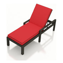 Barbados Modern Wicker Adjustable Chaise Lounge, Ruby Cushion