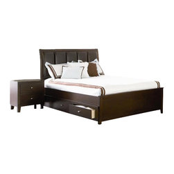 Coaster - Coaster Lorretta 4 Piece Bedroom Set in Dark Brown - Coaster - Bedroom Sets - 201511XS4PKG - Coaster Lorretta 2 Drawer Night Stand in Dark Brown Finish (included quantity: 1) Complement your bed with the contemporary styling of this two drawer night stand Block feet in a modern taper shape form a sturdy yet stylish base, while two storage drawers offer ample space for placing books and everyday items neatly out of sight The bedside table's smooth, rectangular surface is ideal for placing lamps or frames, and highlights the rich depth of the dark brown finish that wraps the entire piece Brushed nickel finish hardware crowns each drawer with a chic, contemporary finish