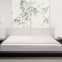 Modloft - Worth Bed - Cal-King, Wenge-White Finish - The Asian-inspired Worth platform bed features a low profile hardwood frame with matching symmetrical nightstands. An upholstered genuine leather headboard compliments this lavish feng shui bed. Mattress sits snuggly on a solid pine-slat mattress base for stylistic durability and added comfort. Includes two matching nightstands each measuring 24L x 18W x 7H. Platform height measures 7 inches. Available in California-King, Standard King, Queen, and Full sizes. Color combinations available in Wenge/White, Wenge/Sand, Walnut/White, and Walnut/Sand. Assembly required. Hardwood construction. Mattress not included. Imported.; Loft Collection; Finish: Wenge-White; Dimensions: 136 x 97 x 26